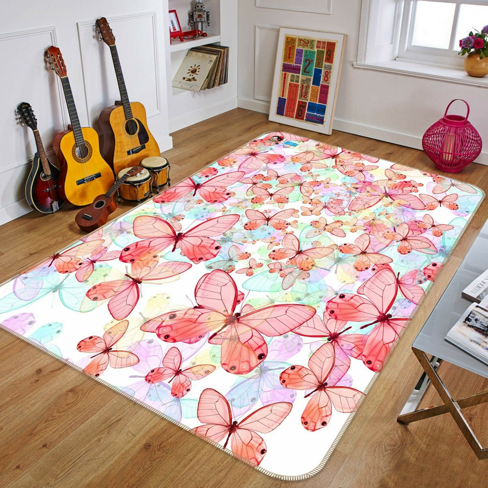 3D Painted Butterfly 5 Non Slip Rug Mat Room Mat Quality Elegant Photo Carpet US