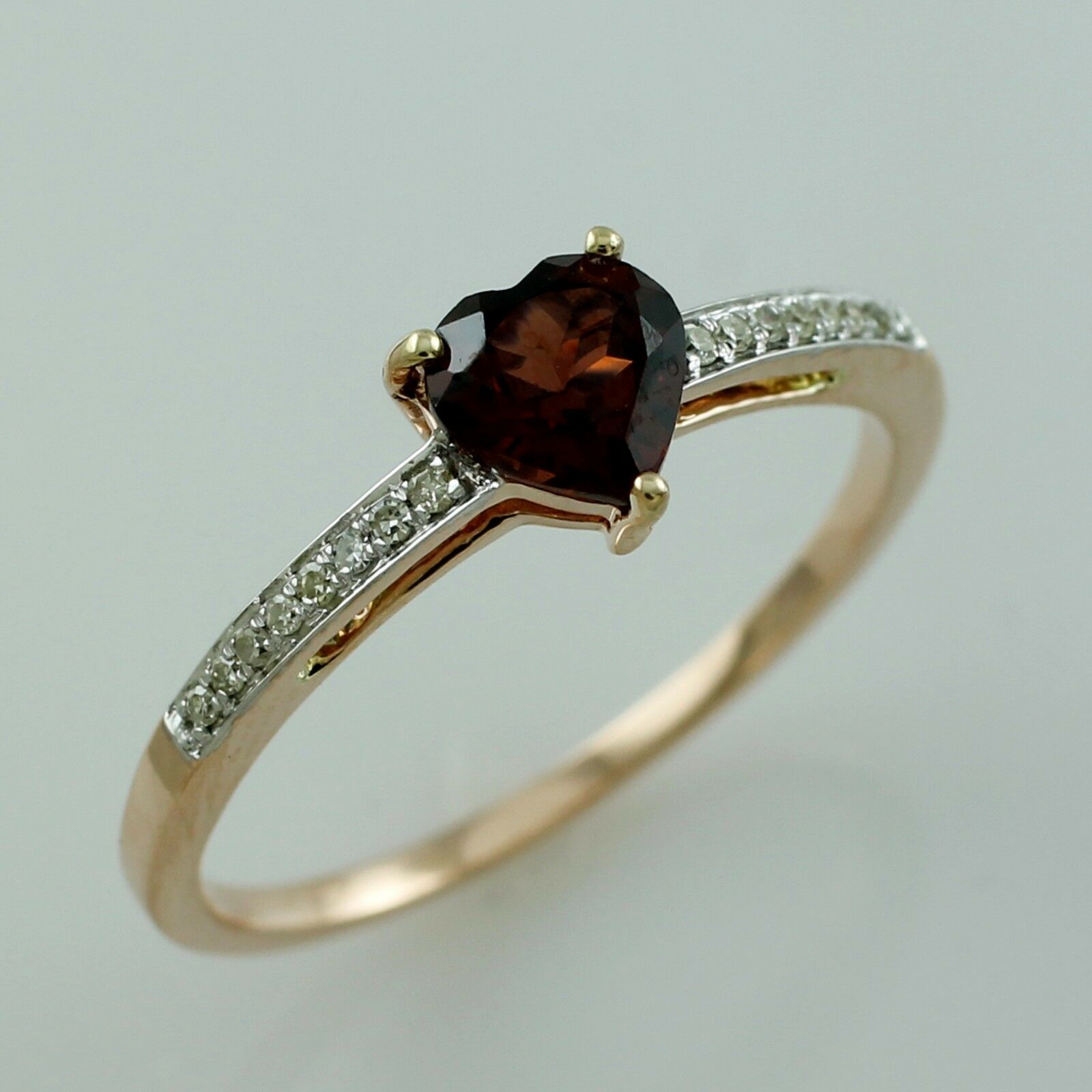 Red Garnet 1.21 Ct With Diamond Gemstone Ring Natural gold Occasion Lady Jewelry