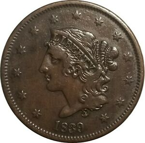 1839 Coronet Head Large Cent, Booby Head Variety, Choice VF Very Fine