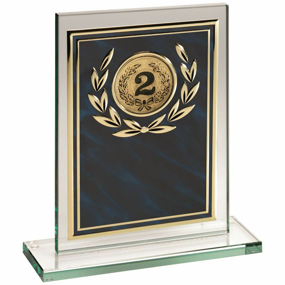 JADE GLASS PLAQUE WITH blueE gold ALUMINIUM FRONT TROPHY - (2in CENTRE) 7in