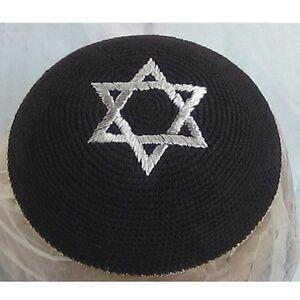 Kippah-Yarmulke-Jewish-Israel-Judaica-Yamaka-Kippa-Shabbat-Star-Of-David-Black