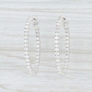New-1-97ctw-Diamond-InsideOut-Hoop-Earrings-14k-White-Gold-Pierced-Oval-Hoops