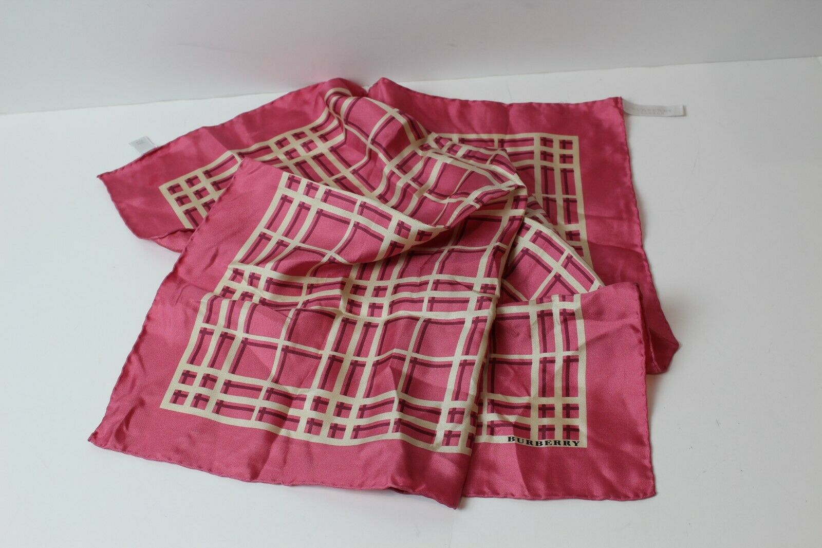 Burberry London Silk Handkerchief Pocket Bandana Plaid NovaCheck 19