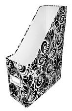 Snap N Store Magazine File Box 1225 X 4 X 9875 Inch Black And White Scroll