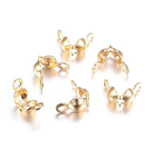 20pcs 304 Stainless Steel Clamshell Bead Tips Double Loop Gold Knot 3.5mm Inner