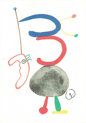 Joan Miro•Portrait of Tristan Tzara 1948•Modern Art Postard France