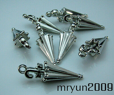 FREE Lots NWT bulk silver plate Acrylic Umbrella Pendant Spacer Loose Beads 30mm