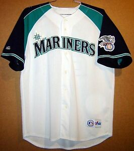 release date: 59b90 0f8e5 Details about SEATTLE MARINERS KEN GRIFFEY Jr. #24 WHITE MESH BUTTON-DOWN  Majestic JERSEY