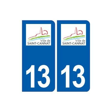 13 Saint-Cannat logo ville autocollant plaque sticker -  Angles : arrondis