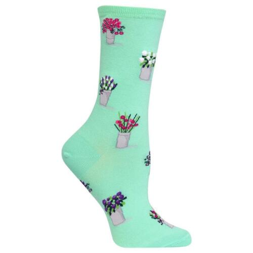 NEW NWT Hot Sox Green Floral Bouquets Socks Mother/'s Day Gift Shoe Size 4-10.5