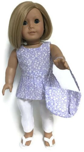 "Lavender Floral Top,Purse /& White Leggings fits 18/"" American Girl Doll Clothes"