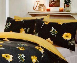 Literie-Ciel-Darcy-Parure-de-lit-noir-avec-fleurs-jaunes-Reversible