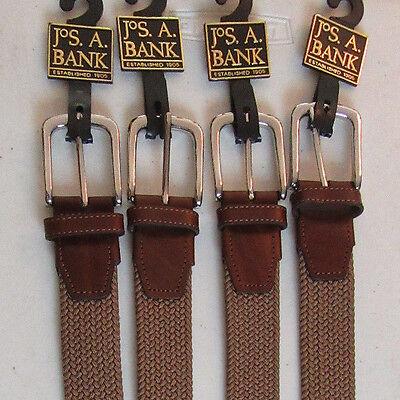 $59 New Jos A Bank Tan weave belt w// silver tone buckle 38