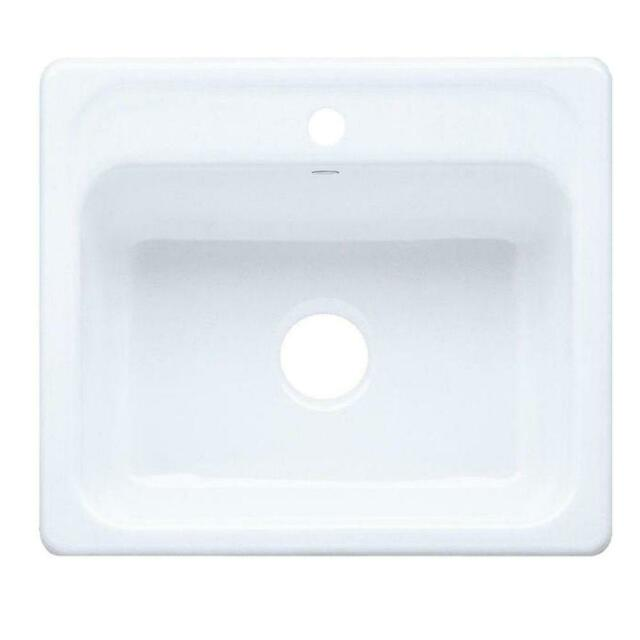 Kohler Mayfield 25 In X 22 In White Single Basin Cast Iron Drop In Kitchen Sink For Sale Online Ebay