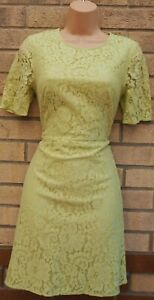 MARKS-SPENCER-LIMITED-COLLECTION-GREEN-LACE-SHORT-SLEEVE-A-LINE-DRESS-10-S