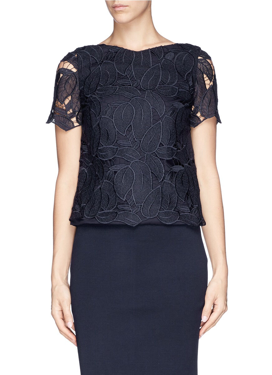 NWT  Tory Burch  Navy  Ian Lace Top Blouse  2