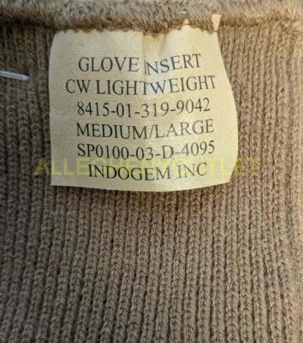 USGI Military USMC COYOTE BROWN FIELD LW WOOL GLOVES INSERTS D3A LINERS M//L NEW