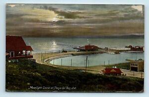 Playa Del Rey, CA - EARLY 1900s MOONLIGHT AERIAL BIRDS EYE - POSTCARD