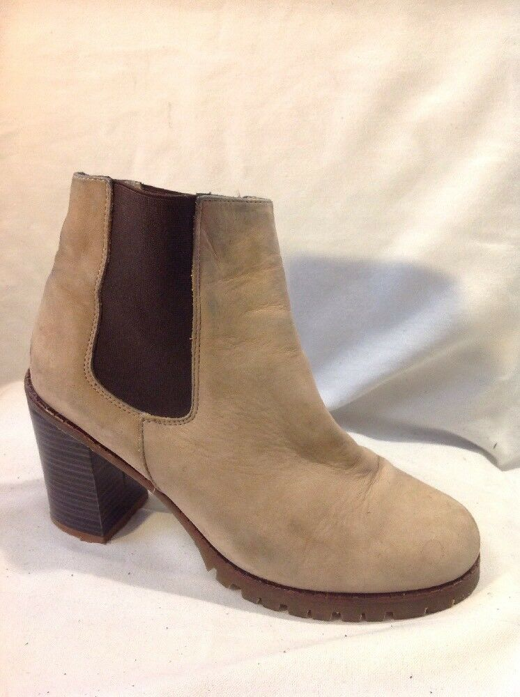 New Look Beige Ankle Leather Boots Size 6