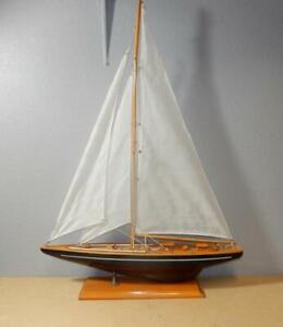 True-Vintage-Wooden-Ship-Model-w-3-Sails-24-in-Long-34-in-Tall-amp-4-1-2-in-Wide