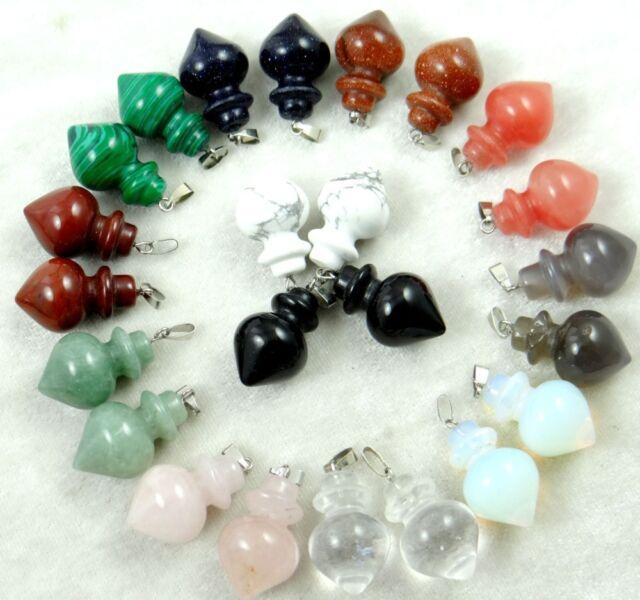 Healing Reiki Chakra Physical Pendulum Mixed agate pendant Gemstone Loose Beads