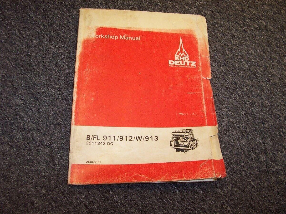 KHD Deutz B FL 911 912 W 913 Diesel Engine Service Repair Workshop Manual |  eBay