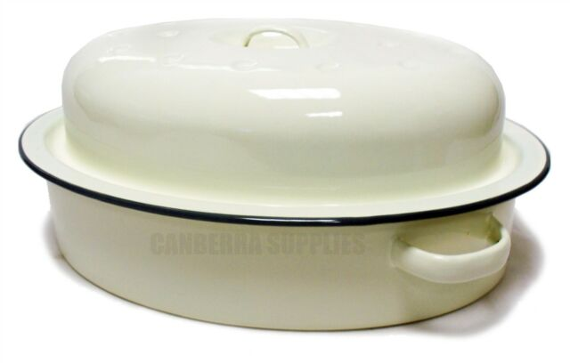 Falcon Enamel Oval Roaster - Country Cream 33.5cm