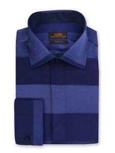 Steven algodón rayas para vestir 100 Ta844 azul Camisa en satén de Land a hombres marino rpCqvxzrw