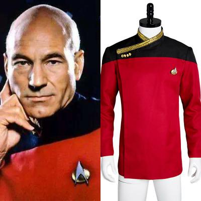 Halloween Men/'s Cosplay Costume Star Trek TNG Capt Picard Red Uniform