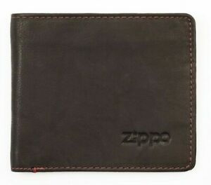 Zippo-Herren-Geldboerse-Leder-Braun-Geldscheinfach-Muenzfach-Rote-Steppnaht-NEU