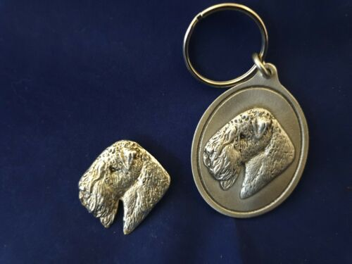SOFT COATED WHEATEN TERRIER Brooch Pewter Keyring Silver Bronze plate Dannyquest