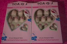 TCA.Q.J AIRBUSH NAILS 24 PCS DESIGNED Acrylic Nail tips LOT OF 2 USA SELLER #11