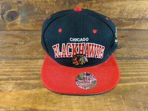 Chicago-Blackhawks-NHL-Vintage-Mitchell-amp-Ness-Black-Red-Snapback-Hat-Cap