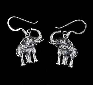 c9c7fb9f0e7e9 Details about Handcrafted Solid 925 Sterling Silver ELEPHANT Drop/Dangle  Earrings