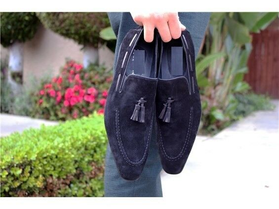Handmade Uomo fashion Navy blue Suede Shoes, Uomo fashion Uomo Suede Tassel shoes and moccasin
