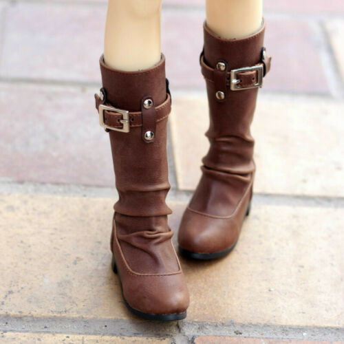1//3 SD10//13//16//DD BJD Shoes Spliced High-heeled Boots Buckle/&Rivets Deco Brown