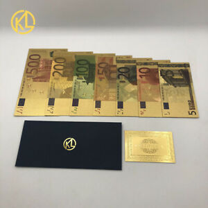 7PC Full Set Gold Foil Bill Banknote Colorful Euro 5//10//20//50//100//200//500
