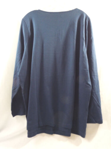 Romans V Neck Laced Front Shirt in Navy Blue Long Sleeve