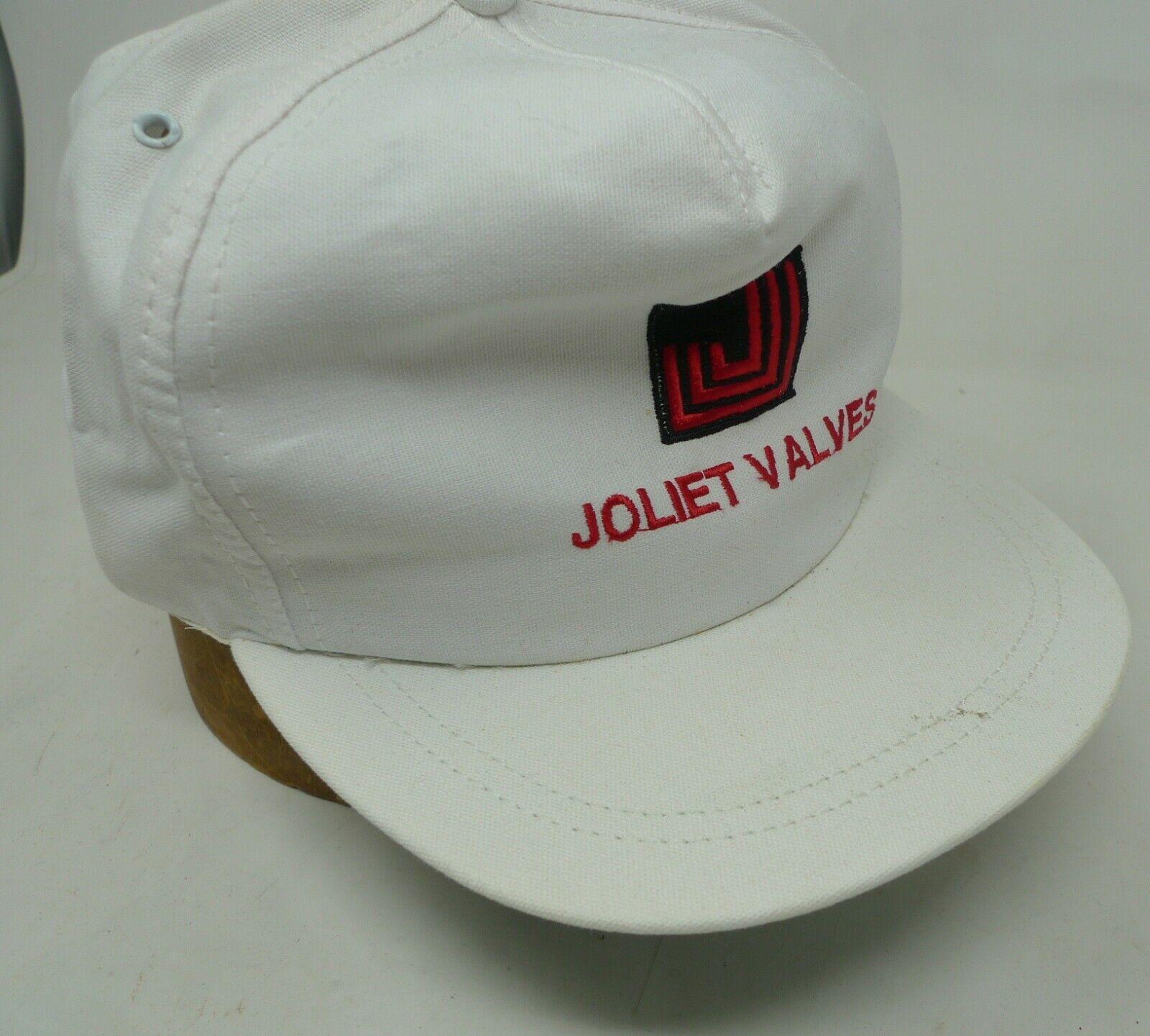 VTG 90's JOLIET VAVLES White Trucker Hat Cap Made in USA Snapback Embroidered