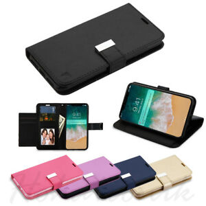 For-Apple-iPhone-Xs-Max-Cards-Leather-Wallet-Flip-Dual-Holder-Case-Cover-Pouch