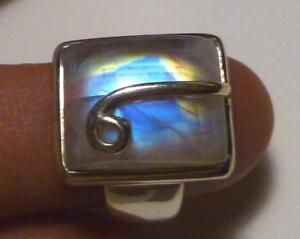 AWESOME! Rainbow  Blue MOoNSToNE! Sterling SILVER .925 RING sz 8.5