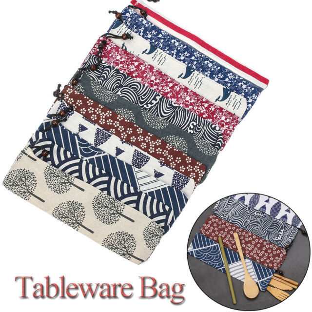 Eco Travel Cutlery Kit Case  Storage Bags Tableware Bag Portable Pouch