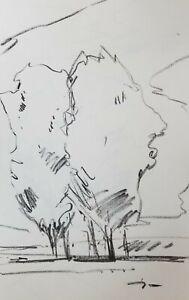"JOSE TRUJILLO - Modernist Classic ORIGINAL Charcoal Paper Sketch Drawing 11X17"""