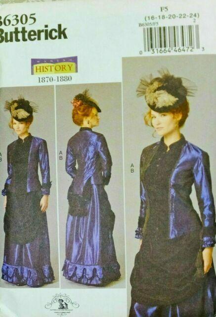 BUTTERICK 6305 Misses Mid-Victorian 1870-80 Jacket Sz8-24 Front Drape Skirt