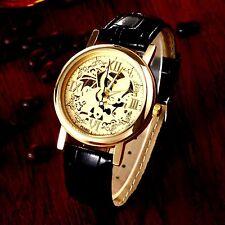 SKELETTUHR Armbanduhr Uhr Damen Leder 23 cm Gold Schwarz Unisex Quarzwerk analog