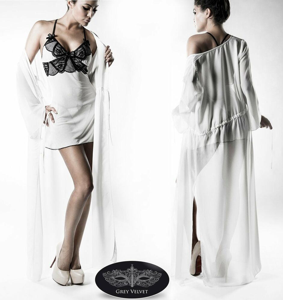"3 Pièces Negligee-set Fr Veronica "": Robe De Chambre,négligé,string Grey Velvet"