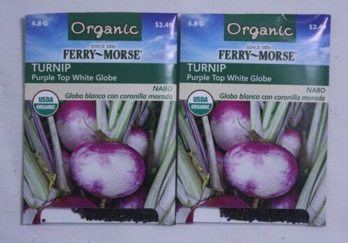 Organic Turnip Ferry-Morse 2 Packs Vegetable Garden Seeds Purple Top
