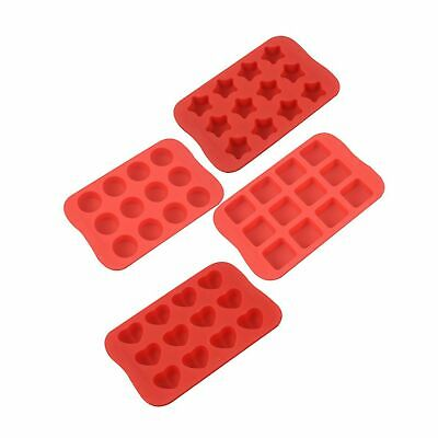 Silicone Baking Mold Chocolate Molds/&Candy Molds Set Tray 4-in-1 Silicone Molds Set for Cupcakes,Muffins,Soap and Brownies-Red