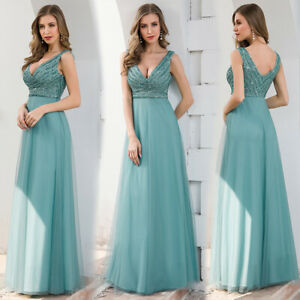 Ever-Pretty-Double-V-neck-Formal-Long-Evening-Prom-Dress-Wedding-Celebrity-Gowns