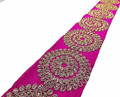 Fabric Trim Pink Border Lace Embroidered Ribbon 7.6 Cm Wide By The Yard FT343L